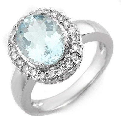Genuine 3.4 ctw Aquamarine & Diamond Ring 10K Gold