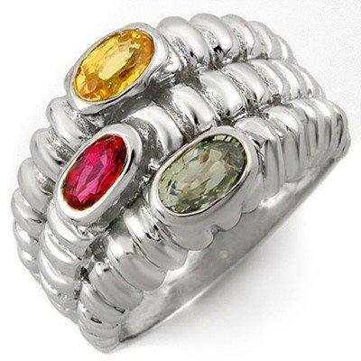 Genuine 1.25 ctw Multi-Sapphire Ring 10K White Gold