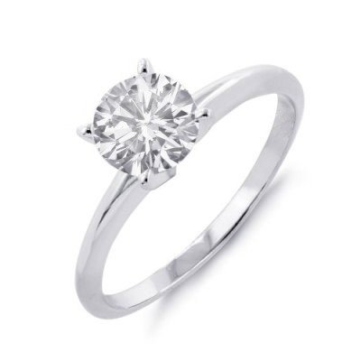 Natural 0.50 ctw Solitaire Diamond Ring 14K White Gold