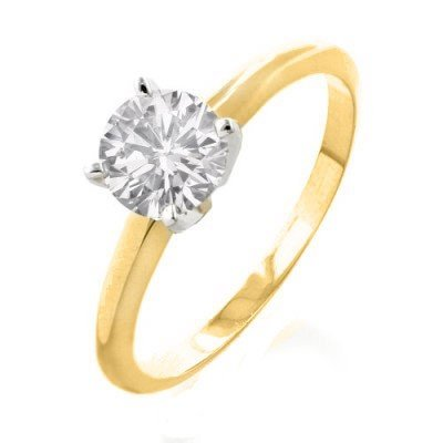 Natural 1.0 ctw Solitaire Diamond Ring 14K Multi tone G