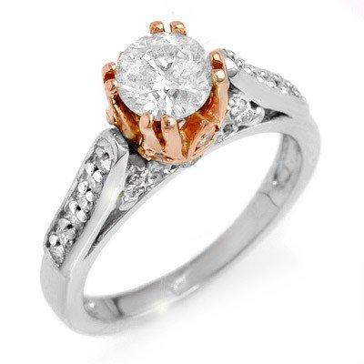 Natural 1.40 ctw Diamond Ring 14K Multi tone Gold