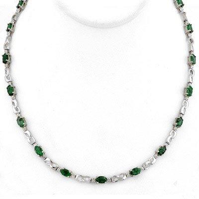 Genuine 7.02 ctw Emerald & Diamond Necklace White Gold