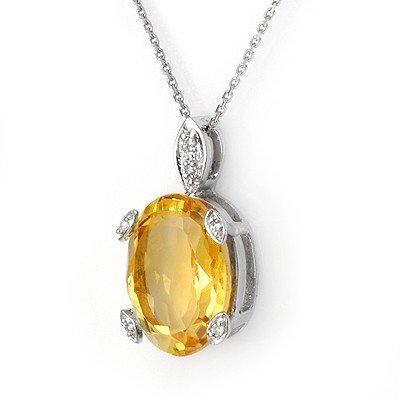 Genuine 10.10 ctw Citrine & Diamond Necklace White Gold