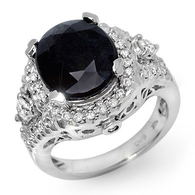 Genuine 8.65 ctw Sapphire & Diamond Ring 14K White Gold