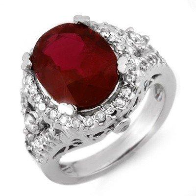 Genuine 5.65ctw Rubellite & Diamond Ring 14K White Gold
