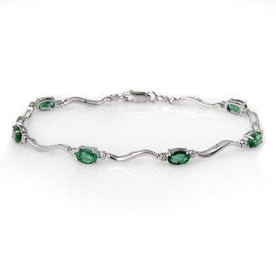 Genuine 3.02 ctw Emerald & Diamond Bracelet White Gold