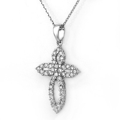 Natural 0.75 ctw Diamond Necklace 14K White Gold