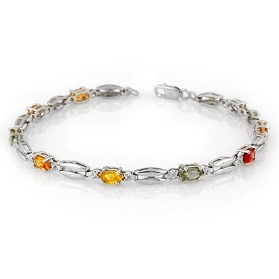 Genuine 3.0 ctw Multi-Sapphire Bracelet 10K White Gold
