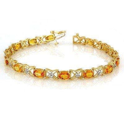 Genuine 10.15ct Yellow Sapphire & Diamond Bracelet Gold