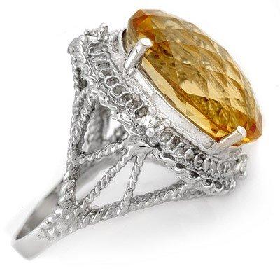 Genuine 16.59 ctw Citrine & Diamond Ring 10K White Gold