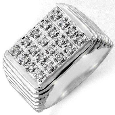 Natural 1.0 ctw Diamond Men's Ring 10K White Gold