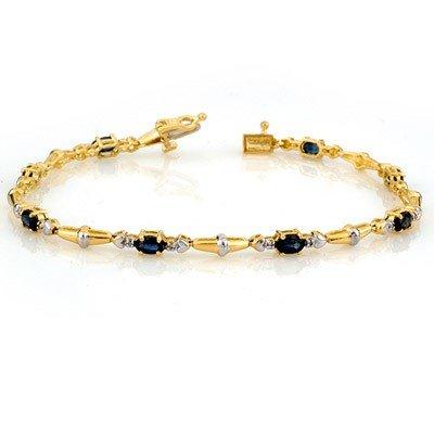 Genuine 2.75 ctw Blue Sapphire & Diamond Bracelet Gold