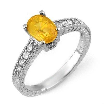 Genuine 2.0 ctw Yellow Sapphire & Diamond Ring 14K Whit