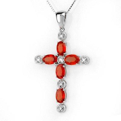 Genuine 3.15ctw Orange Sapphire & Diamond Necklace Gold