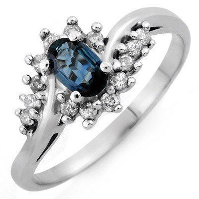 Genuine 0.50 ctw Blue Sapphire & Diamond Ring 10K White