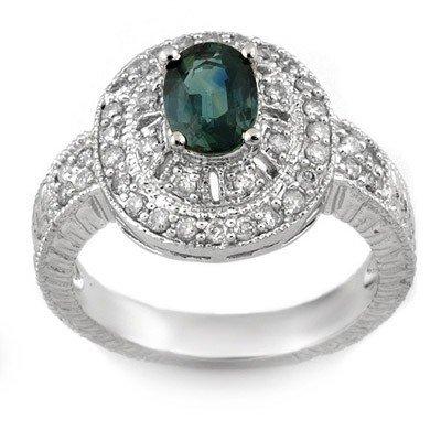 Genuine 2.08 ctw Blue Sapphire & Diamond Ring 14K White