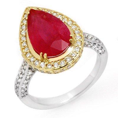Genuine 6.25 ctw Ruby & Diamond Ring 14K 2tone Gold