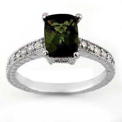 Genuine 2.15ctw Green Tourmaline & Diamond Ring Gold