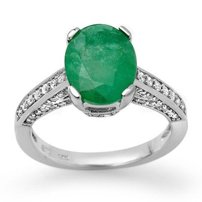 Genuine 3.2 ctw Emerald & Diamond Ring 14K White Gold