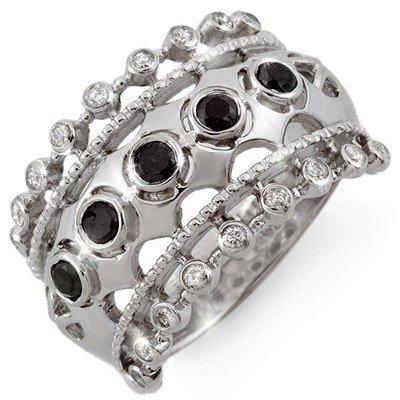 Natural 0.75 ctw White & Black Diamond Ring 10K Gold