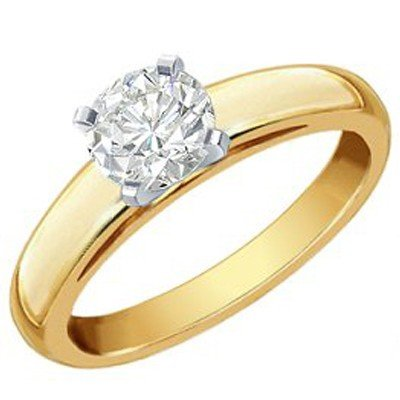 Natural 0.75 ctw Solitaire Diamond Ring 14K 2tone Gold