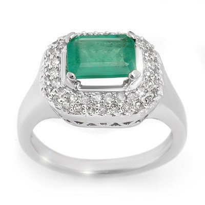 Genuine 1.90 ctw Emerald & Diamond Ring 14K White Gold
