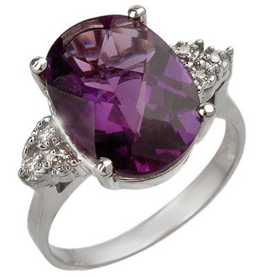 Genuine 5.10ctw Amethyst & Diamond Ring 10K White Gold
