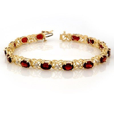 Genuine 13.55 ctw Garnet & Diamond Bracelet Yellow Gold