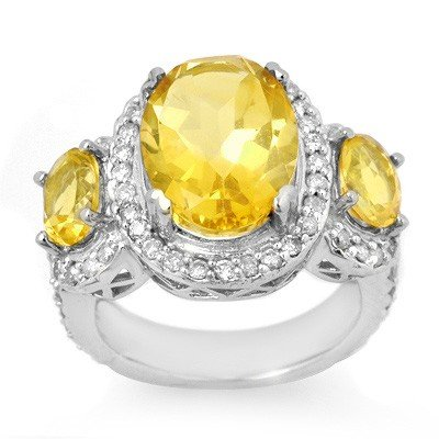 Genuine 8.50 ctw Citrine & Diamond Ring 10K White Gold