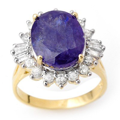 Genuine 8.03 ctw Tanzanite & Diamond Ring 14K Gold