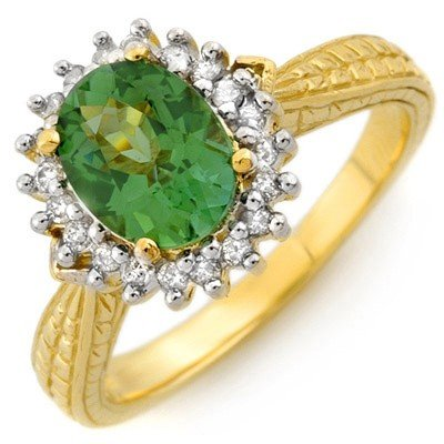 Genuine 1.75ctw Green Tourmaline & Diamond Ring Gold