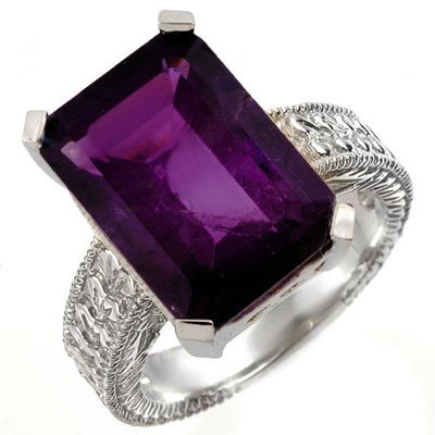 Genuine 14.0 ctw Amethyst Ring 10K White Gold