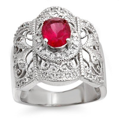 Genuine 2.15ctw Rubellite & Diamond Ring 10K White Gold