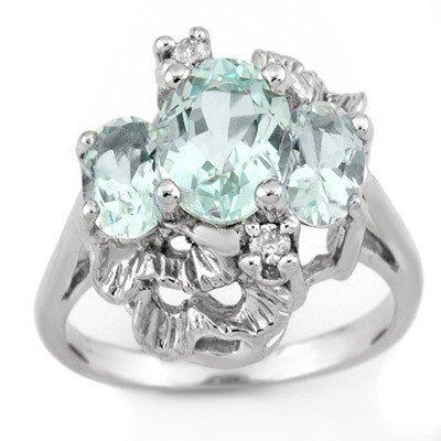 Genuine 3.06 ctw Aquamarine & Diamond Ring 10K Gold