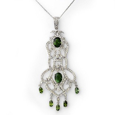 Genuine 7.65ct Green Tourmaline & Diamond Bracelet Gold