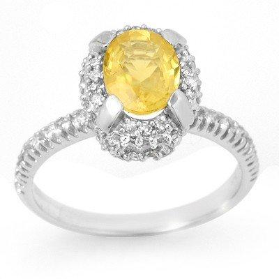 Genuine 2.10ctw Yellow Sapphire & Diamond Ring 14K Gold