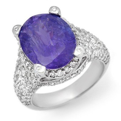 Genuine 9.50 ctw Tanzanite & Diamond Ring 14K Gold