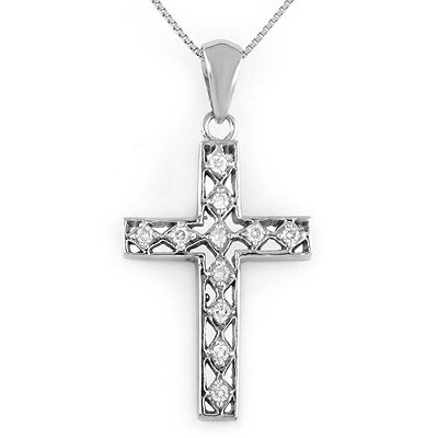 Natural 0.20 ctw Diamond Necklace 10K White Gold