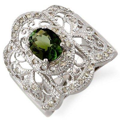 Genuine 2.15 ctw Green Tourmaline & Diamond Ring Gold