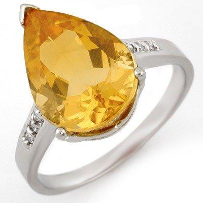 Genuine 5.1 ctw Citrine & Diamond Ring 10K White Gold