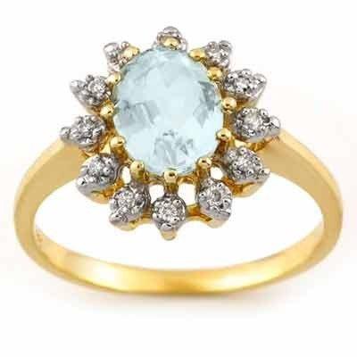 Genuine 1.62 ctw Aquamarine & Diamond Ring 10K Gold