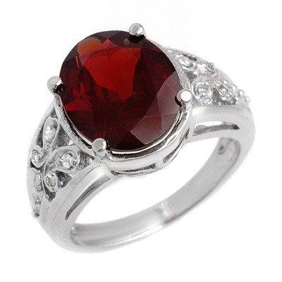 Genuine 6.15 ctw Garnet & Diamond Ring 10K White Gold
