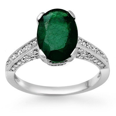 Genuine 3.25 ctw Emerald & Diamond Ring 10K White Gold