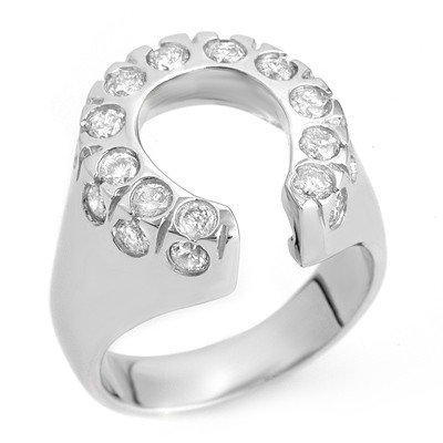 Natural 1.25 ctw Diamond Horse-shoe Ring 14K White Gold