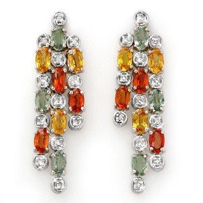 Genuine 4.33 ctw Multi-Sapphire & Diamond Earrings Gold