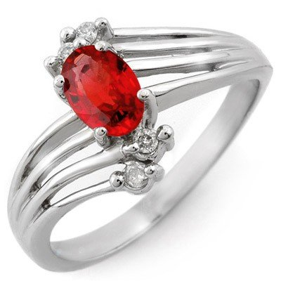 Genuine 0.80 ctw Red Sapphire & Diamond Ring 10K Gold
