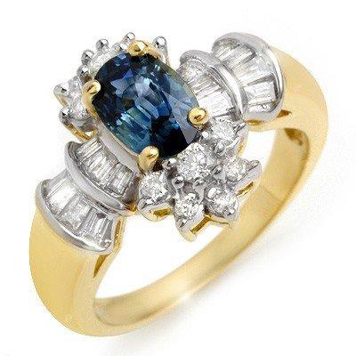 Genuine 2.25 ctw Blue Sapphire & Diamond Ring 14K Gold