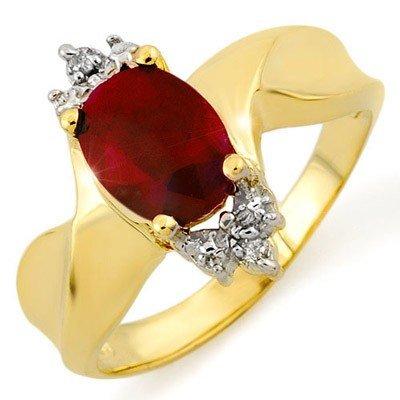 Genuine 1.79 ctw Ruby & Diamond Ring 10K Yellow Gold