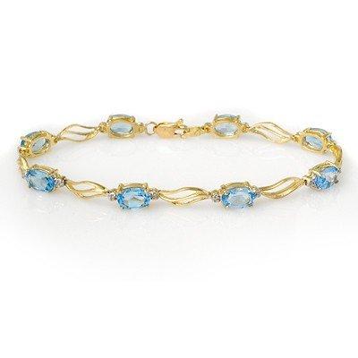 Genuine 8.02 ctw Blue Topaz & Diamond Bracelet 10K Gold