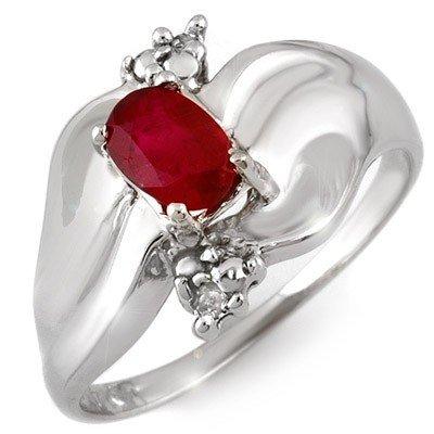 Genuine 0.79 ctw Ruby & Diamond Ring 10K White Gold